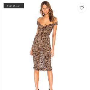 Tabitha Midi Dress in Tan Leopard